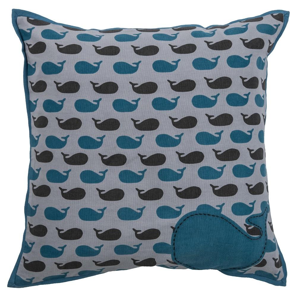 Gray Applique Whale Throw Pillow (18