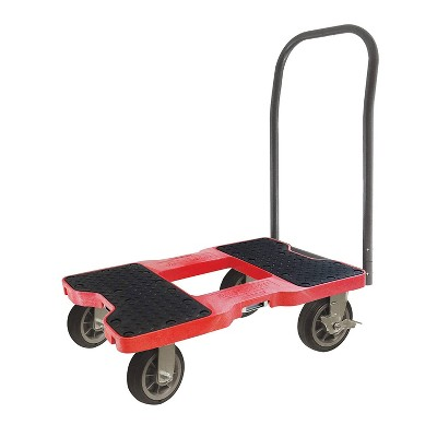 Snap Loc 1,500 lb Capacity All Terrain E Track Push Cart Dolly Red, Heavy Duty 6 in Solid Rubber Swivel Caster Wheels