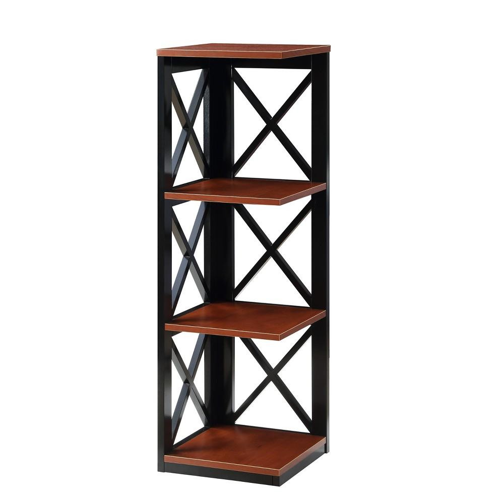 Oxford 3 Tier Corner Bookcase Cherry Brown/Black - Johar Furniture