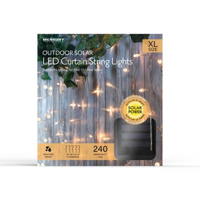 Outdoor Solar LED Curtain String Lights - Clear Wire - Merkury Innovations
