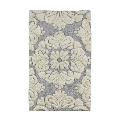 2pc Medallion Collection 100% Cotton Bath Rug Set Gray/Natural - Better Trends