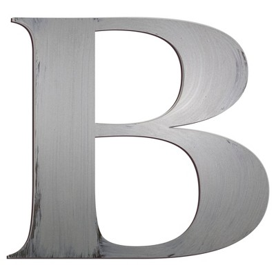 Letter2Word Hand Painted Letter B 3D Wall Sculpture -Nickel