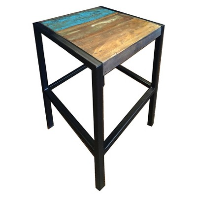 Industrial Reclaimed Wood and Iron Stool - (18H x 14W x 14D) - Natural - Timbergirl