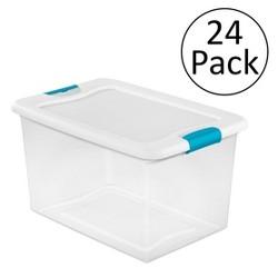 Sterilite 64 Quart Latching Plastic Storage Box, Clear w/ Blue Latches