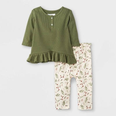 Grayson Mini Baby Girls' Floral Thermal Top & Bottom Set - Olive Green
