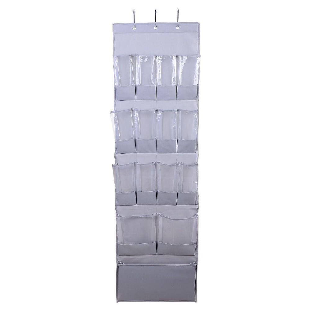 Image of 15-Pocket Over-the-Door Hanging Shoe Organizer Gray - Room Essentials