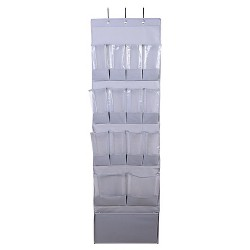 15 Pocket Over the Door Hanging Shoe Organizer Gray - Room Essentials™