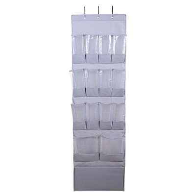 15 Pocket Over The Door Hanging Shoe Organizer Gray   Room Essentials™