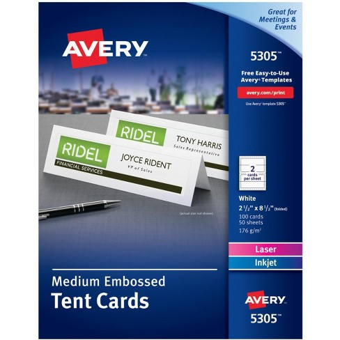 Avery Embossed Tent Cards, 2-1/2 x 8-1/2 Inches, White, pk of 100 - image 1 of 2