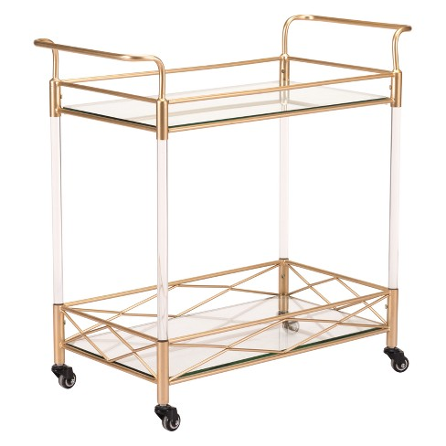 "31.5"" Modern Glass, Steel and Acrylic Bar Cart - Gold - ZM Home - image 1 of 1"