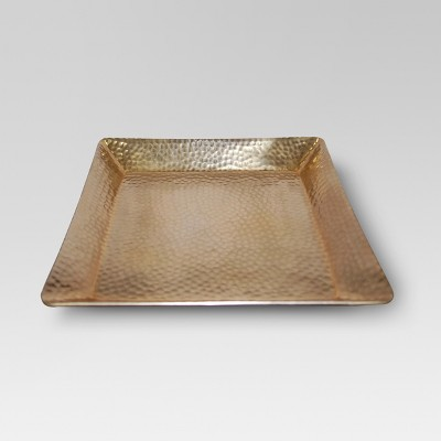 Squared Hammered Tray with Gold Finish - Threshold™