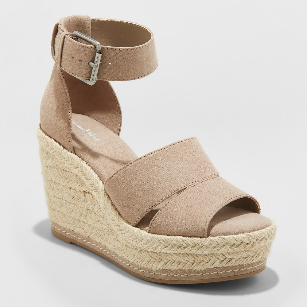 Women's Caroline Wide Width Microsuede Ankle Strap Espadrille Wedge - Universal Thread Taupe (Brown) 9.5W, Size: 9.5 Wide