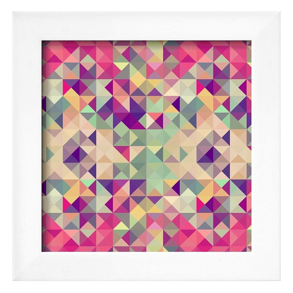 Art.com Vintage Hipsters Geometric Pattern - Framed Art Print, Soho White