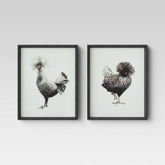 "Set of 2 16""x 20"" Polish Chickens Framed Canvas - Threshold™"