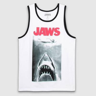 Men's JAWS Crew Neck Tank Top - White
