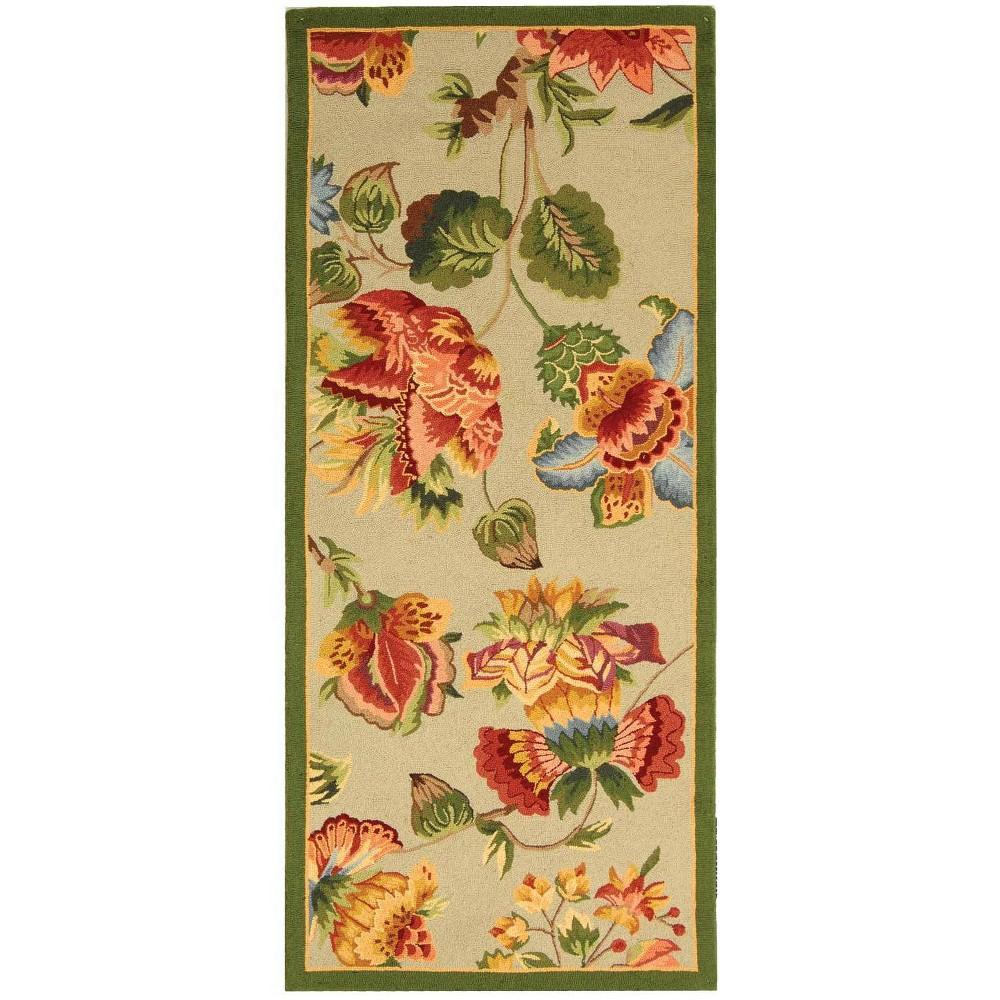 2'6X8' Hooked Floral Runner Rug Sage (Green) - Safavieh