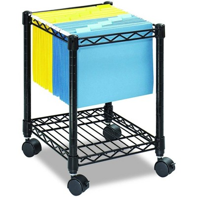 Safco Steel Wire Compact Mobile File Cart Organizer for Letter or Legal Size Folders with 4 Wheels, Fits Under Most Home or Office Desks, Black