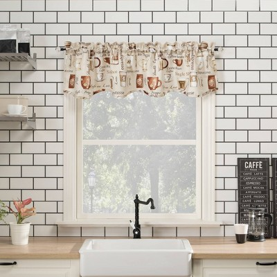"14""x54"" Bristol Coffee Shop Semi-Sheer Rod Pocket Kitchen Curtain Valance Ivory - No. 918"
