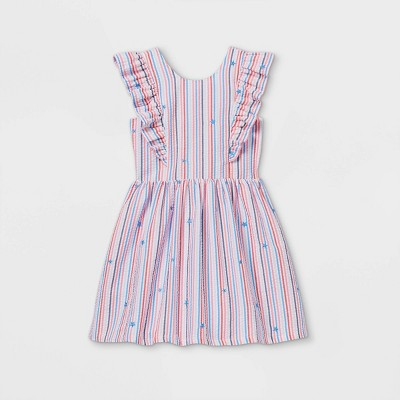 Girls' Americana Striped Woven Dress - Cat & Jack™ Red/Blue