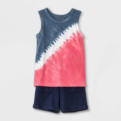 Toddler Boys' Americana Tie-Dye Tank Top and French Terry Pull-On Shorts Set - Cat & Jack™ Navy