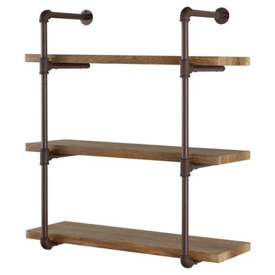 "35"" x 31.5"" Three Tier Industrial Pipe Wall Shelf Natural - Danya B."