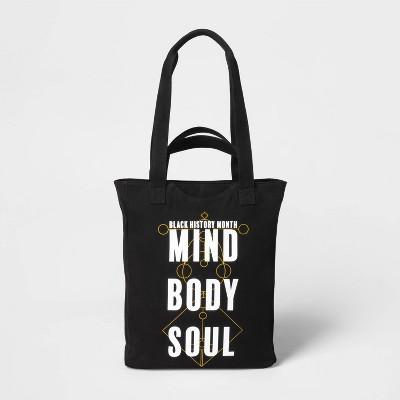 Black History Month 'Mind Body Soul' Zip Closure Tote Handbag - Black