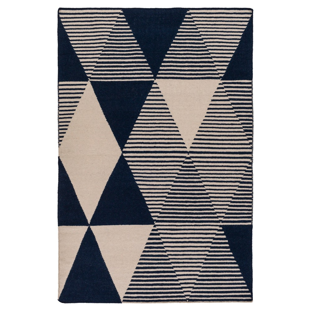 Dark Blue Abstract Woven Area Rug - (5'X7'6) - Surya