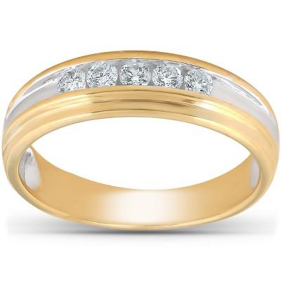 Pompeii3 1/4 Ct Diamond Mens Wedding Ring 10k Yellow Gold
