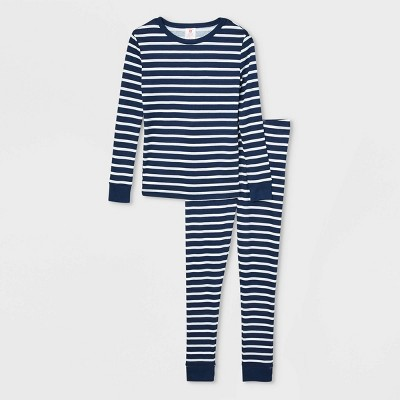 Kids' Striped 100% Cotton Tight Fit Matching Family Pajama Set - Navy