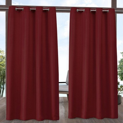 Set of 2 Outdoor Solid Cabana Grommet Top Light Filtering Curtain Panel - Exclusive Home