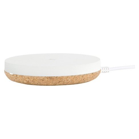 TYLT Puck Wireless Charging Pad - White/Cork - image 1 of 4