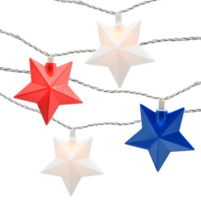 10ct Star String Light Red/White/Blue - Evergreen