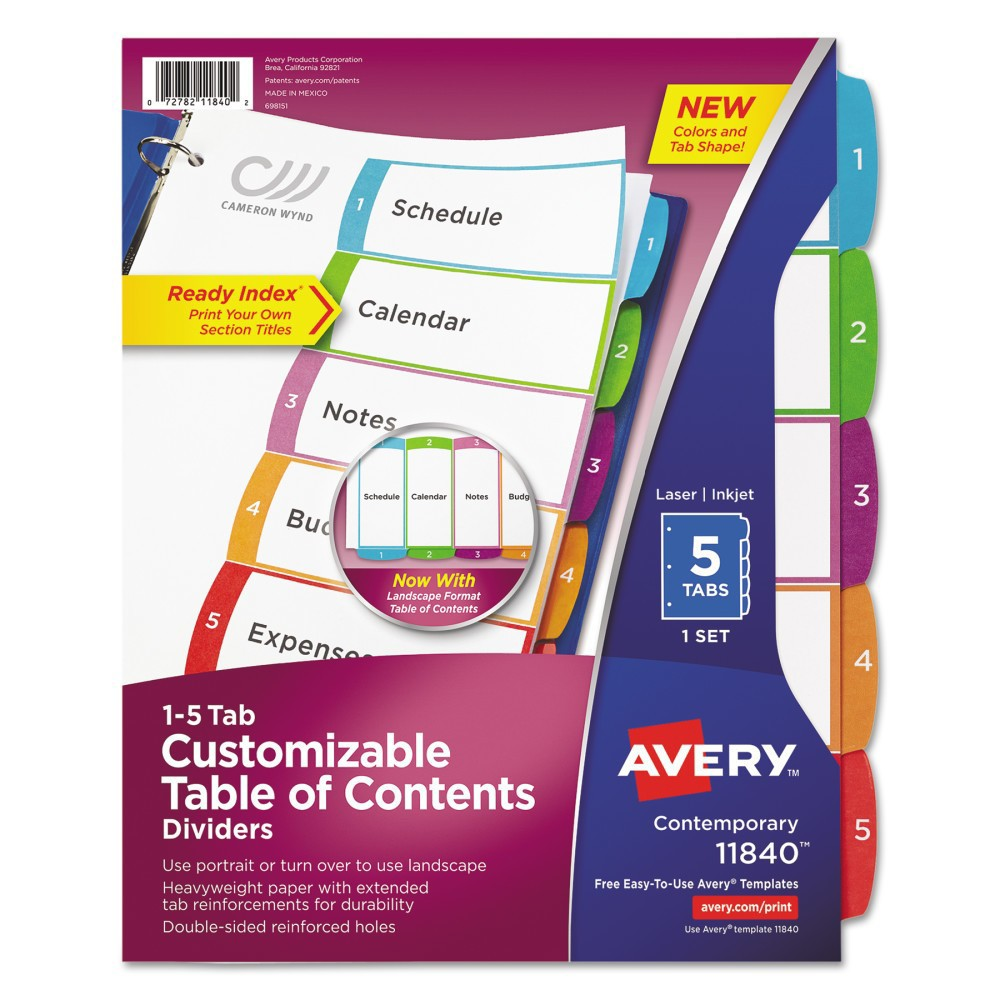 Avery Ready Index Table of Contents Dividers, Multicolor Tabs, 1-5, Letter (11840), Multi-Colored