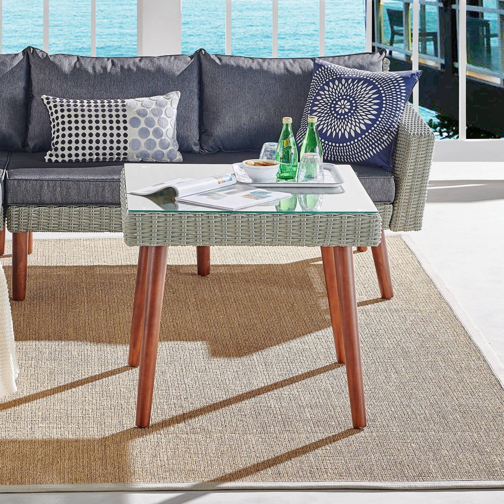 "Image of ""29"""" All-Weather Wicker Albany Outdoor Square Cocktail Table Brown - Alaterre Furniture"""