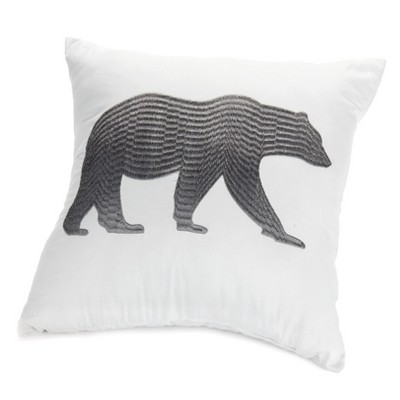 "Lakeside Home Sweet Home Lodge Lifestyle 16"" Accent Pillow with Bear Motif"