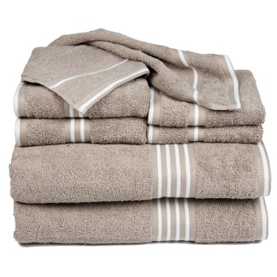 8pc Striped Bath Towel Set Taupe - Yorkshire Home