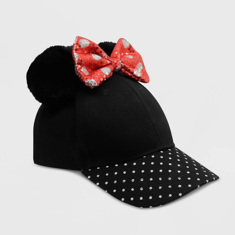 Image of Baby Girls' Minnie Mouse Baseball Hat - Black One Size, Toddler Girl's