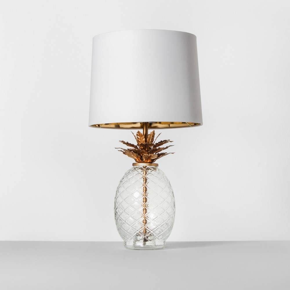 Image of Glass Pineapple Table Lamp Brass Includes Energy Efficient Light Bulb - Opalhouse, Clear Gold
