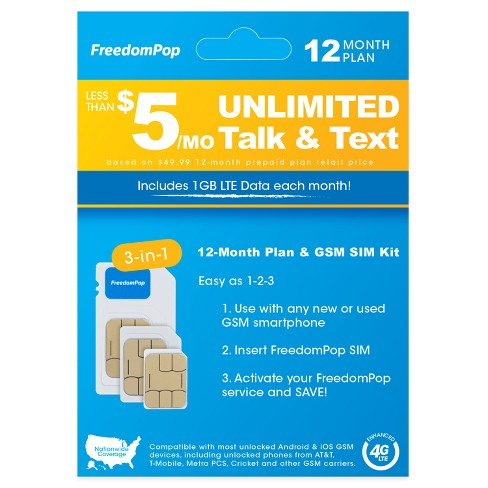 FreedomPop 3-in-1 LTE SIM Kit 12-Month Prepaid Plan (Unlimited Talk, Text, & 1GB Data) - image 1 of 2