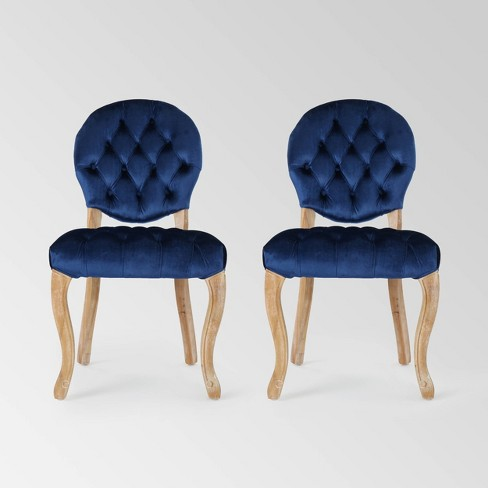 Tremendous Set Of 2 Xenia Tufted Dining Chairs Navy Blue Christopher Knight Home Bralicious Painted Fabric Chair Ideas Braliciousco
