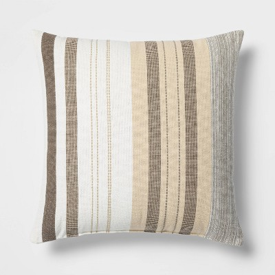 Woven Stripe Oversized Square Pillow Neutral - Threshold™