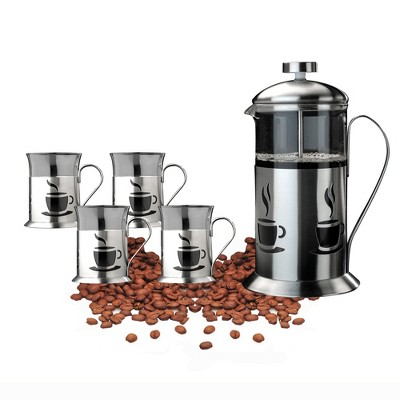 BergHOFF 5 Pcs 18/10 Stainless Steel French Press and Cup Set