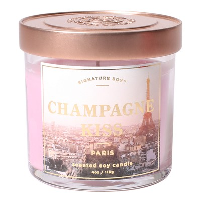 Small Glass Jar Candle Champagne Kiss 4.1oz - Signature Soy