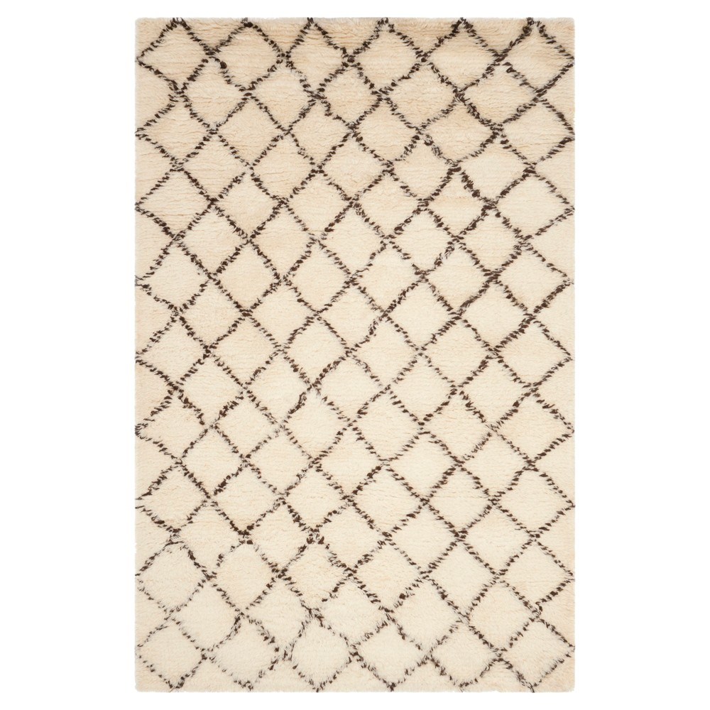 Ivory/Dark Brown Geometric Knotted Area Rug - (8'X10') - Safavieh