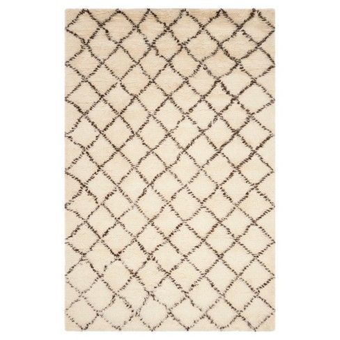 Ivory/Dark Brown Geometric Knotted Area Rug - (8'X10') - Safavieh - image 1 of 3