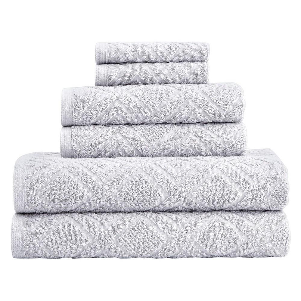 Image of 6pc LaRue Turkish Cotton Bath Towel Sets Silver - Makroteks