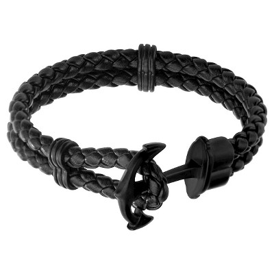 """Men's Steel Art Black Braided Leather Bracelet with Stainless Steel Black IP Anchor Clasp (8.5"""")"""