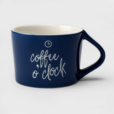 12oz Porcelain Coffee o'Clock Mug Navy - Threshold™