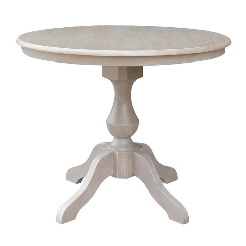 36 X 36 Solid Wood Round Pedestal Dining Table Weathered Gray