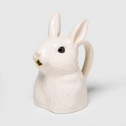 """9.2"""" x 8"""" Stoneware Bunny Shaped Pitcher Vase White - Threshold™"""